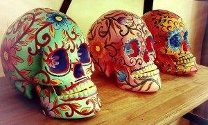 Des crânes peints, exposés lors d'une brocante à l'Isle-sur-la-Sorgue.