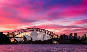 L'Opéra de Sydney au coucher du soleil.