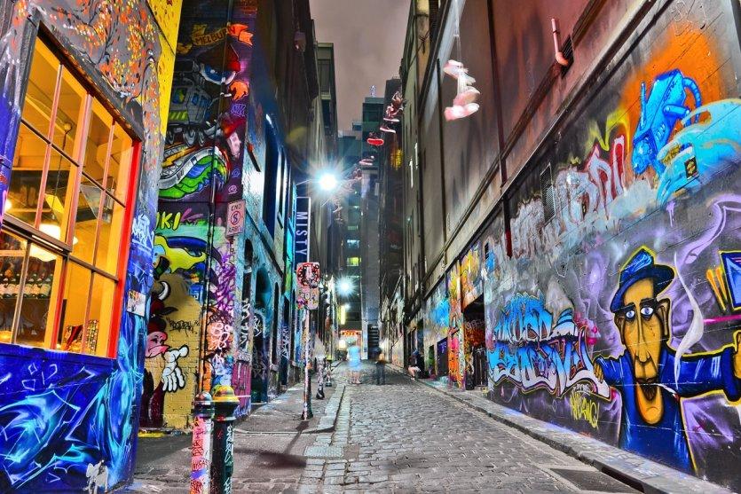 Des graffitis sur Hosier Lane à Melbourne, capitale du street art.