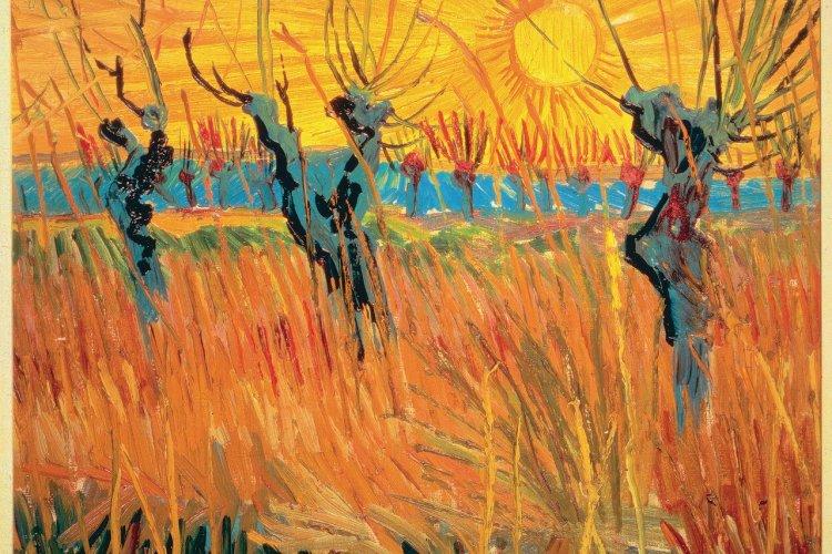 Vincent van Gogh, Saules au coucher du soleil, 1888. Huile sur toile montée sur carton, 31,6×34,3cm, Kroller‑Muller Museum, Otterlo, Pays-Bas. - © Art Resource, NY.
