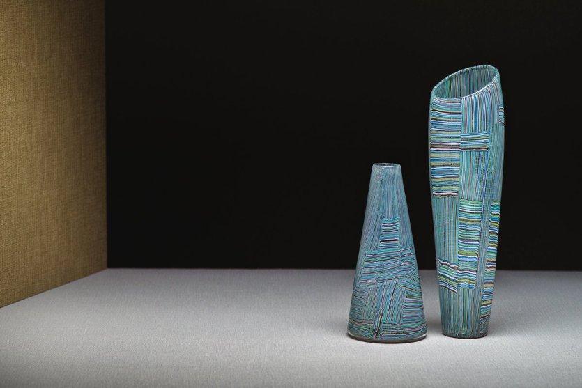 Paolo Venini, Vase en verre mosaïque multicolor.