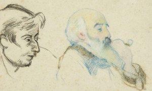 Camille PISSARRO (Saint-Thomas, 1830 – Paris, 1903) et Paul GAUGUIN (Paris, 1848 – Atuona, 1903) Double Portrait de Paul Gauguin et de Camille Pissarro Vers 1880-1883 Fusain et crayons de couleurs sur papier filigrané