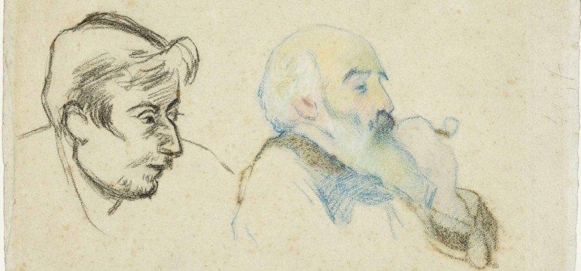 Camille PISSARRO (Saint-Thomas, 1830 – Paris, 1903) et Paul GAUGUIN (Paris, 1848 – Atuona, 1903) Double Portrait de Paul Gauguin et de Camille Pissarro Vers 1880-1883 Fusain et crayons de couleurs sur papier filigrané - © DR