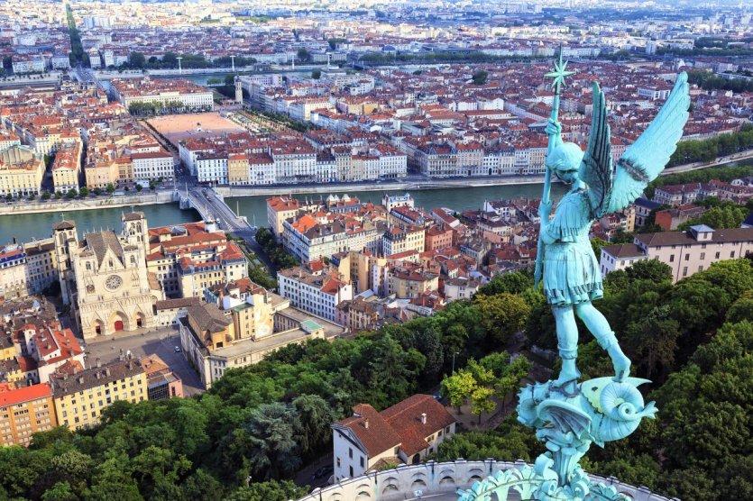 Vue sur Lyon depuis la basilique Notre Dame de Fourvière.