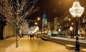 Illuminations dans les rues de Cracovie.