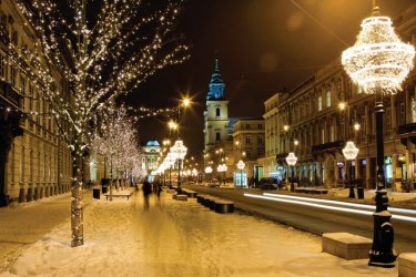 Illuminations dans les rues de Cracovie.