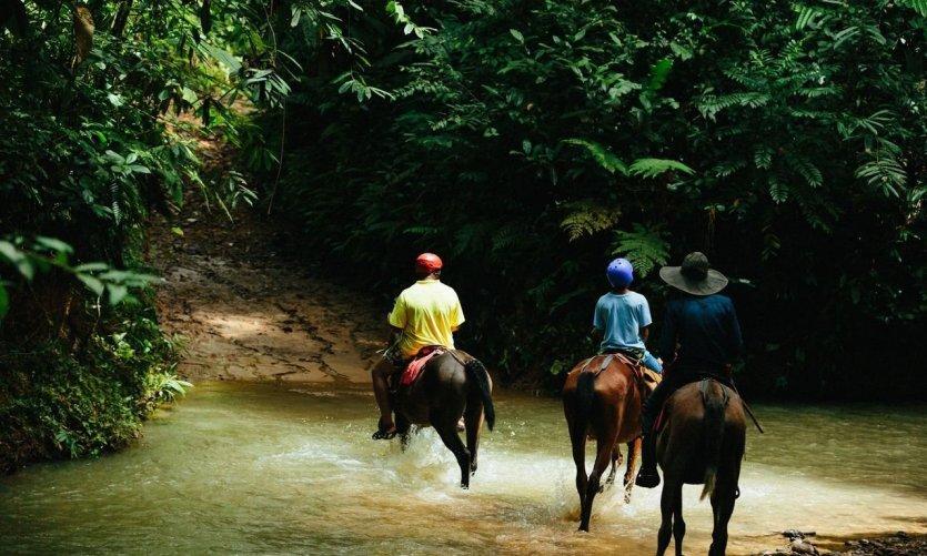Lors des balades à cheval.
