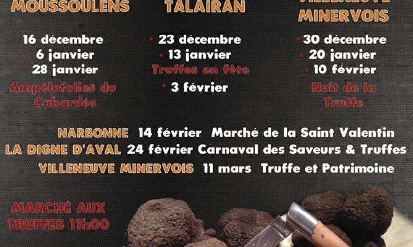 Agenda des marchés à la truffe en Grand Carcassonne