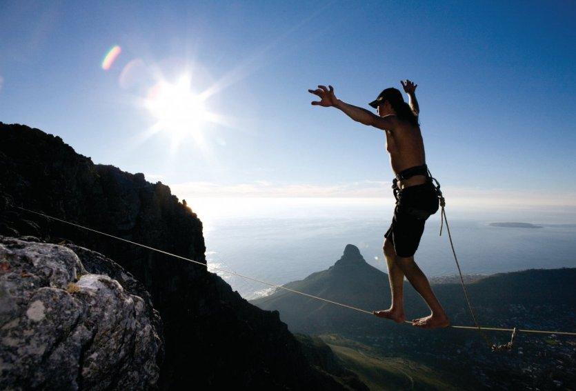 Slackline à Table Mountain