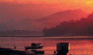 Le Mékong au coucher du soleil.