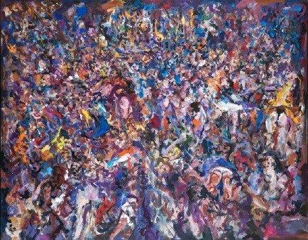 Robert Lapoujade, La Foule, 150x118, Peinture