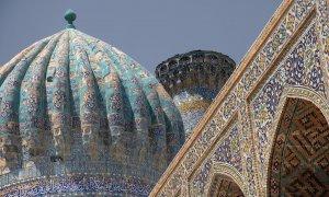 Bâtiments islamiques sur la place principale de Samarkand.