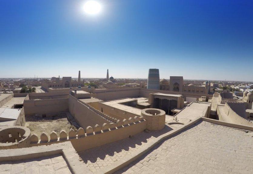 Vue aérienne de la vieille ville de Khiva.