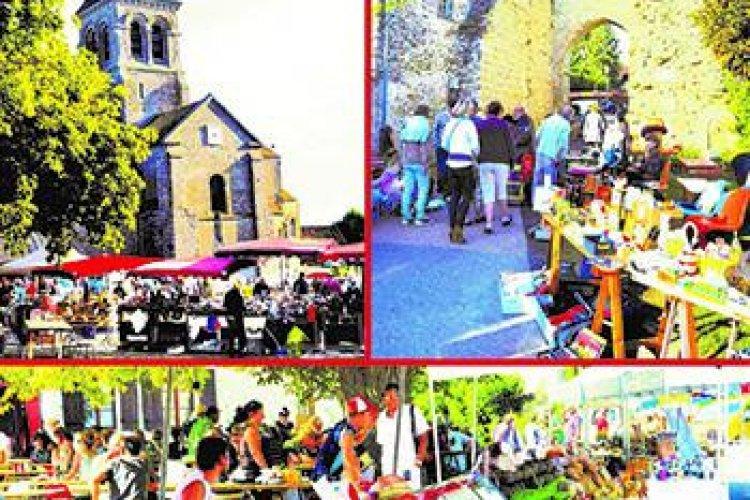 Brocante au pied de la Porte de Bretagne et autres rues; Marché sur la place de l'Eglise