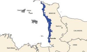 Aire géographique de l'IGP Bulot de la Baie de Granville- © DR