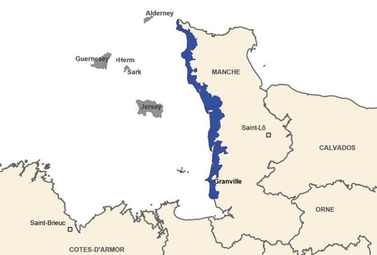 Aire géographique de l'IGP Bulot de la Baie de Granville - © DR
