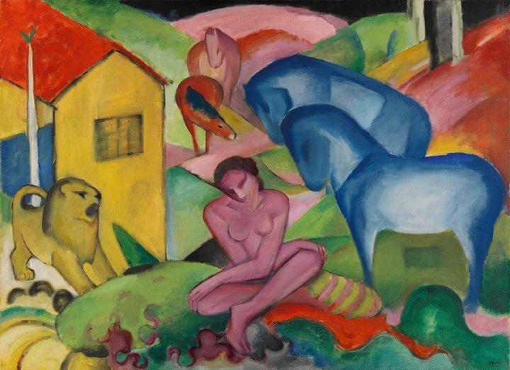- © Franz Marc, Le rêve [Der Traum], 1912, Museo Thyssen-Bornemisza, Madrid.