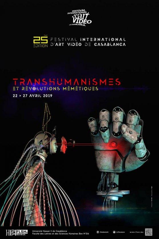 Le visuel officiel de la 25ème édition du festival International d'Art Vidéo de Casablanca qui aura lieu du 22 au 27 avril 2019 dans plusieurs sites de Casablanca et dans d'autres villes. L'affiche est réalisée par ElMehdi Najmi à partir des créations de l'artiste français Yann Minh qui participe à cette édition. YANN MINH, écrivain de Science-Fiction, Artiste chercheur, NøøNaute Cyberpunk, réalisateur VR, AR, explorateur cyberspatial.