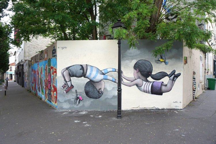 Oeuvre de Seth, place de la Commune de Paris, Buttes-aux-Cailles - © Julien « SETH » Malland