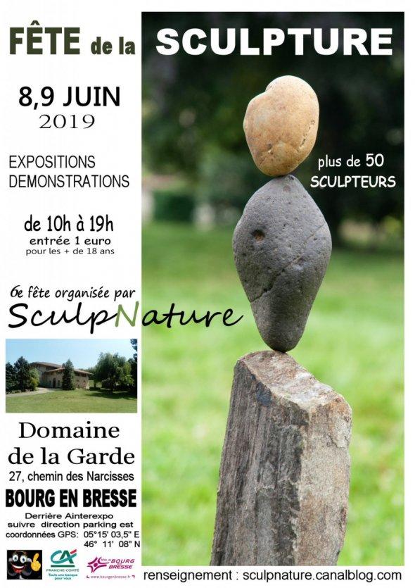 affiche de l'événement fête de la sculpture 2019 de l'association sculpnature