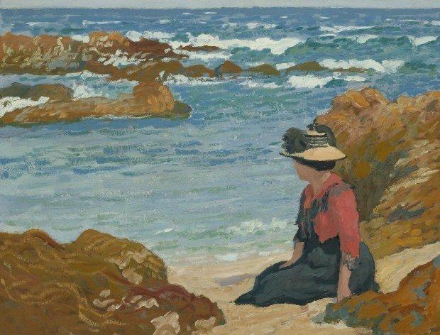 Madame Auburtin au bord de la mer, vers 1895. Jean-Francis Auburtin - © Collection particulière, photo de François Doury