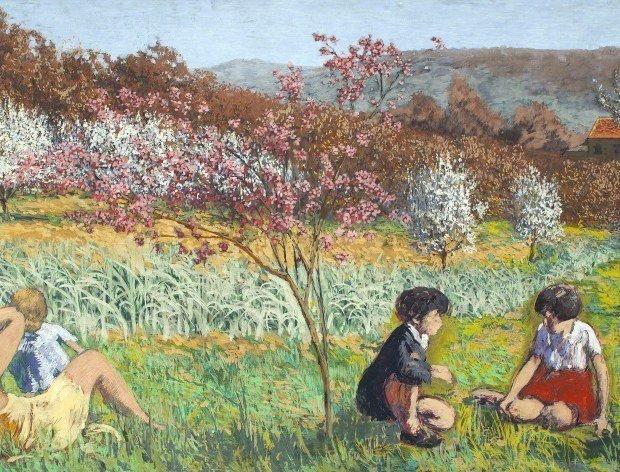 Ker-Xavier Roussel Dans le verger de L'Étang-la-Ville, s.d. Peinture à la colle sur toile, 129 x 298 cm. - © Collection particulière. Photo : Anne Claude Barbier