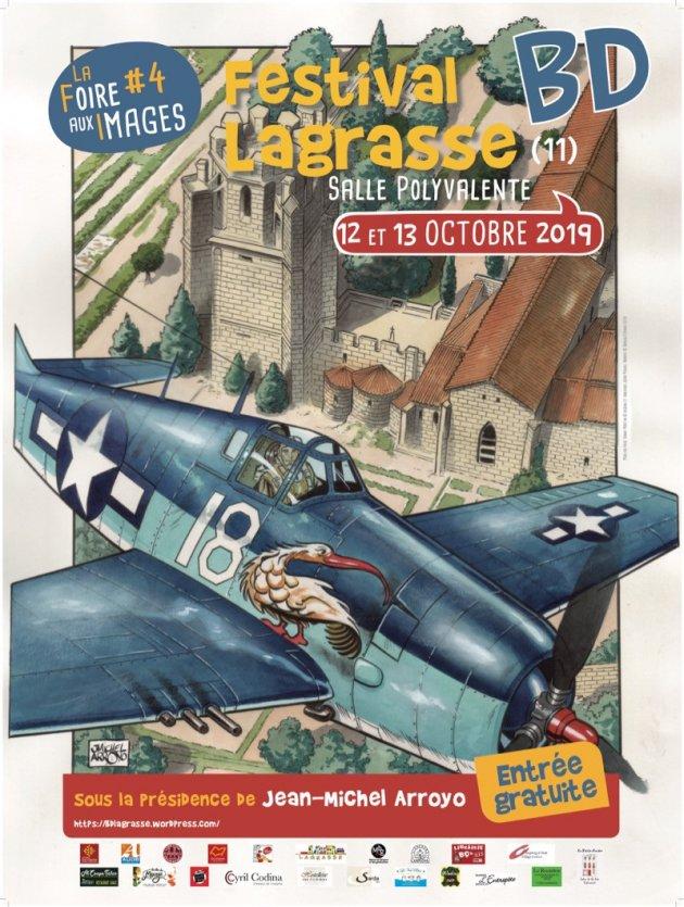 Affiche du 4e festival BD de Lagrasse - Dessin de Jean-Michel Arroyo.