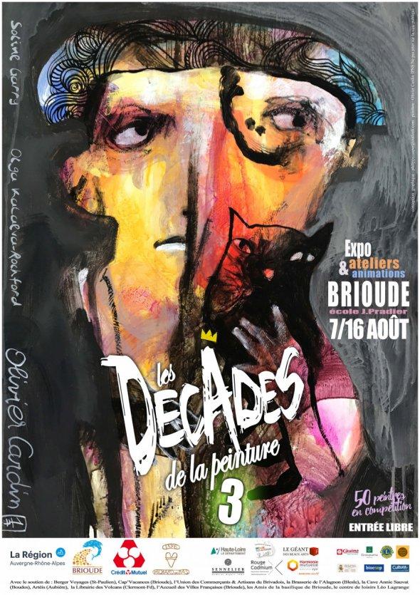 AFFICHE Décades 3 - conception graphique Philippe Caspar, peinture Olivier Cardin A4 xs