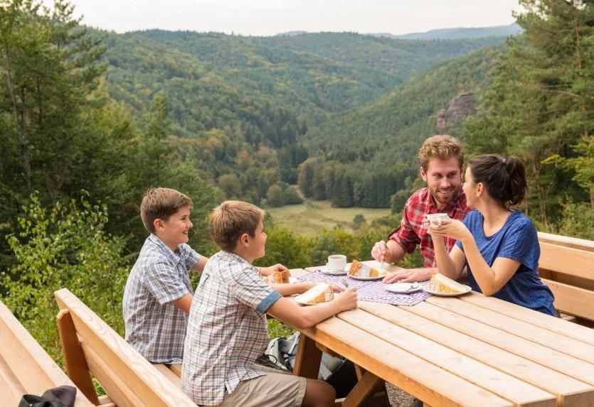 Le sentier de randonnée Premium « Hauensteiner Schusterpfad » forme une boucle et passe par Hauenstein, lieu de fabrication de chaussures riche en traditions. Long d'une quinzaine de kilomètres, il est bordé de bois épais et de formations rocheuses rouges. Un tour riche en sensations pour les jeunes et les moins jeunes sur le Hauensteiner Schusterpfad, un des sept sentiers de randonnée Premium de la communauté de communes d'Hauenstein. Un agréable sentier parcourt cette boucle de près de 15 kilomètres autour d'Hauenstein, ville traditionnelle de la chaussure. Il offre de nombreux points de vue et autant d'occasions de faire une pause et pique-niquer. - © Pfalz.Touristik_Ketz, Tourist-Info-Zentrum Pfälzerwald