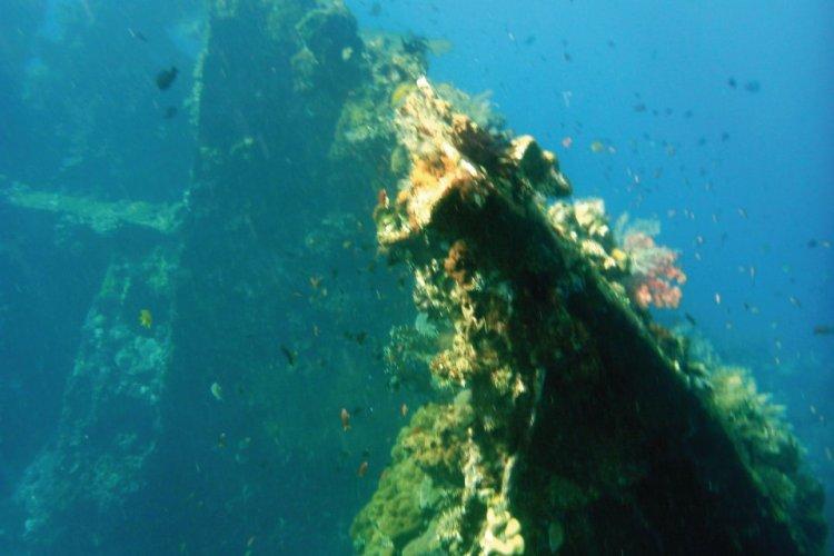 Épave du cargo américain que l'on peut découvrir en plongée ou snorkelling à Tulamben. - © Stéphan SZEREMETA