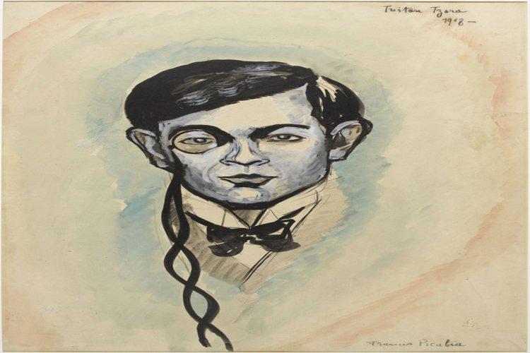 Francis Picabia (1879-1953), Portrait de Tristan Tzara, 1918, mine graphite, gouache et aquarelle sur papier, 62,8 x 45,6 cm. - © ADAGP Paris 2014. Centre Pompidou, MNAM-CCI, Dist. RMN-Grand Palais / Georges Meguerditchian