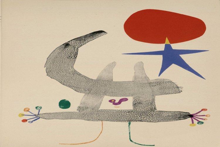 Parler seul : poème / Tristan Tzara ; Paris : Maeght, 1950 1 vol. (117 p.) : lithographies en noir et en couleur de Joan Miró. Legs Michel Leiris - © Successió Miró / ADAGP, Paris, 2015