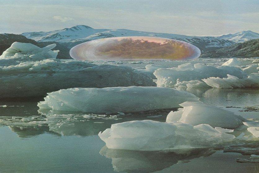 Fôret tropicale dans un paysage arctique. Application d'un système de contrôle climatique Photomontage, 68,5 x 53,5 cm Madrid, Navarro Baldeweg Asociados - © ADAGP, Paris, 2015