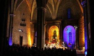 L'intérieur de la Basilique de Rocamadour dans laquelle ont lieu les concerts.