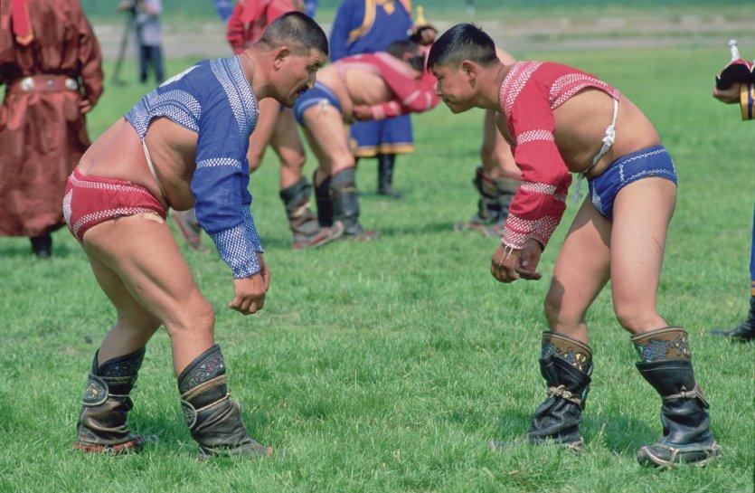 Fête du Naadam, tournoi de lutte.