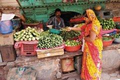 Primeur dans la vieille ville de Bikaner. (© Maxime DRAY)