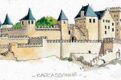 Aude, cité de Carcassonne, aquarelle collection Auzias. (© Domaine Auzias)