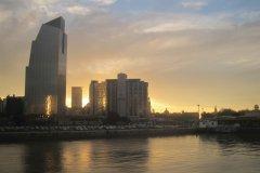 Vue sur la City au coucher de soleil (© Stéphan SZEREMETA)