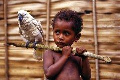 Enfant et son cacatoès. (© Philippe Gigliotti)