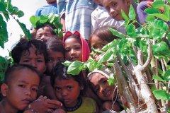 Dans certaines parties d'Indonésie, la visite d'étrangers n'est pas fréquente, sucitant la curiosité des petits et des grands. (© Eloïse BOLLACK)