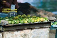 Vente de noix d'arec et de haricots de poivrier pour faire le bétel et les cigarettes. Les passions papoues! (© Philippe Gigliotti)