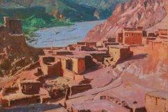 Ait Bou Guemez, village de l'Atlas, peint par J. Majorelle (© MUSÉE D'ARCT ET DE CULTURE DE MARRAKECH - MACMA)
