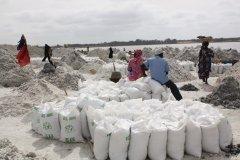 Récolte du sel au lac Rose. (© Maya LEFEBVRE)