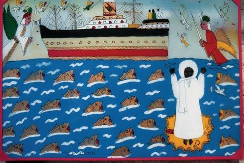 Un fixé sous verre, art populaire du Sénégal. (© Tom Pepeira - Iconotec)