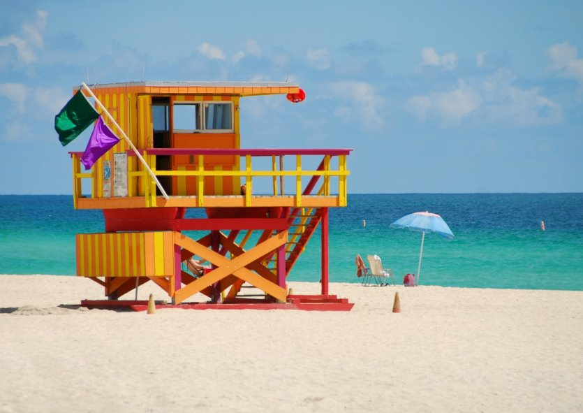 Poste de secouristes sur Miami Beach.