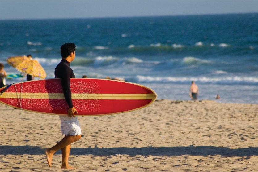 <p>Surfeur sur Manhattan Beach.</p>