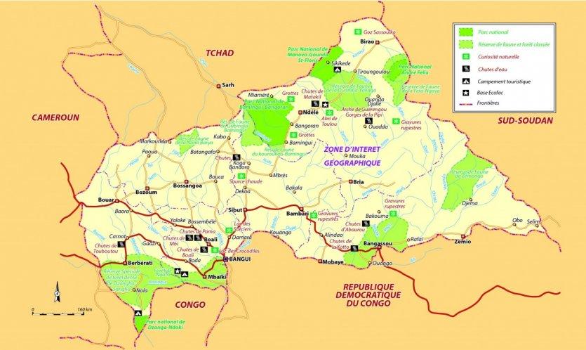 republique centrafricaine relief