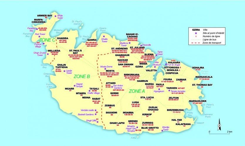 Carte de malte tourisme voyages cartes for Plan de malte