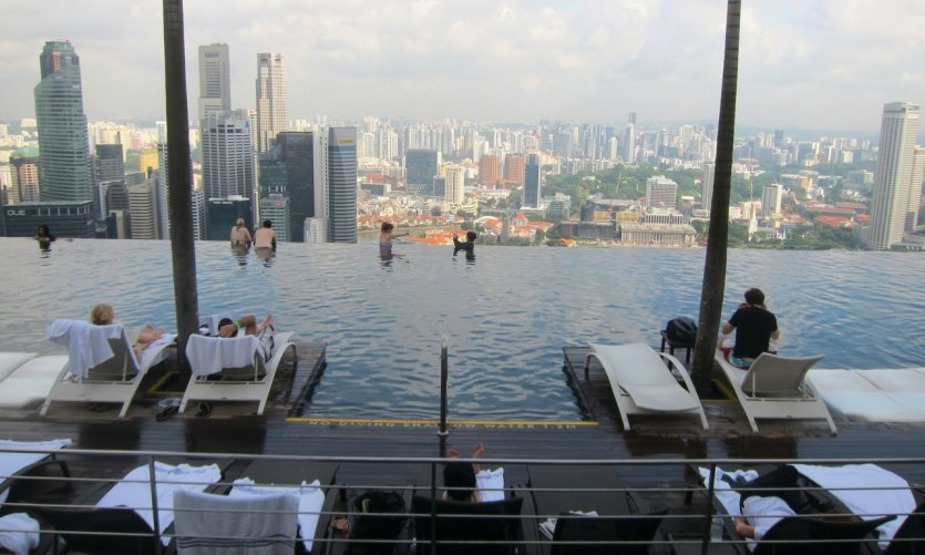 Pool at the top of the Marina Bay Sands hotel