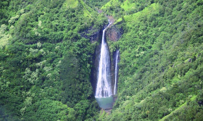 <p>A helicopter overview of the Na Pali Coast, the Jurassic Park Falls.</p>